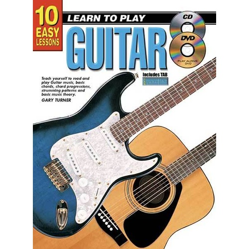 10 Easy Lessons Learn To Play Guitar Book/CD/DVD