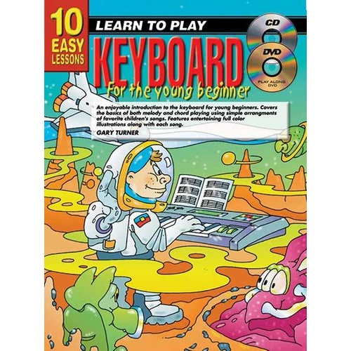 10 Easy Lessons Learn To Play Keyboard for The Young Beginner Book/CD/DVD